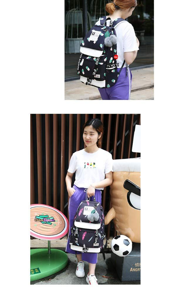 mdsqwl Mochila Femenina Escuela Secundaria Junior Estudiante Femenino Transpirable Mochila de impresi/ón Mochila Impermeable Port/átil Globo de Aire Caliente de Color Caqui