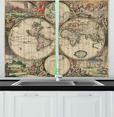 Ambesonne Vintage Kitchen Curtains, Ancient Antique Old Aged Map of the World Historical Geography Theme Retro Design, Window Drapes 2 Panels Set for Kitchen Cafe, 55W X 39L Inches, Multicolor