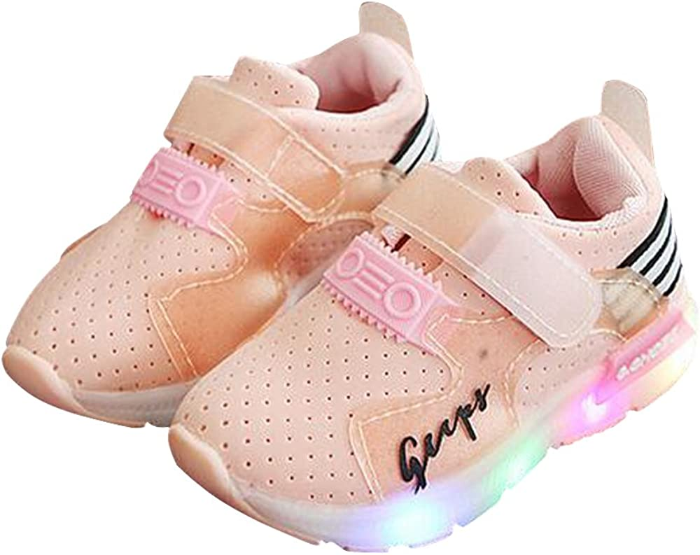 LanXi Kids Casual Sneakers Breathable Led Light Up Shoes for Boys Girls