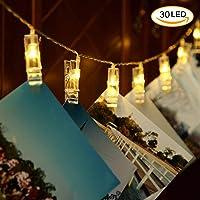 Regalo de San Valentin Glückluz Luces Foto Clips 30 LED Guirnalda Iluminación de Navidad de Interior Luces Decorativas Para Boda Navidad Fiesta Vacaciones Decoración Para Pared de Casa Empresa Tienda Restaurante Hotel (30LED Batería)