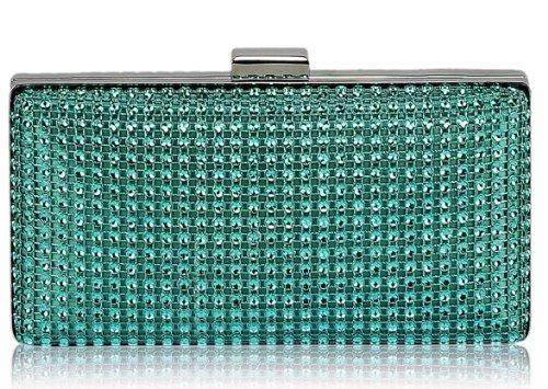 Box Clutch Bag Metallic Handbag Womens Evening Party Ladies Wedding Sparkly New Diamante Designer Look Design 1 - Teal