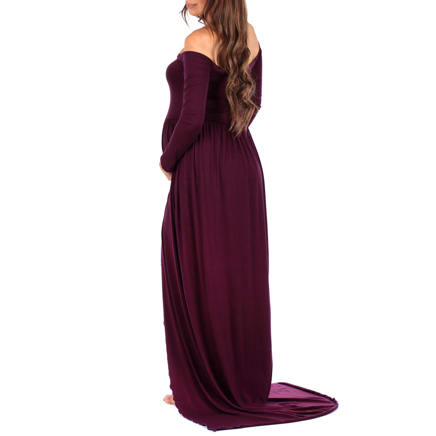 Made in USA Womens Off Shoulder Maternity Gown for Photo Shoots