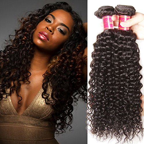 Nadula 8A Unprocessed Brazilian Virgin Curly 3 Bundles 95-100g/ Bundle Natural Color Remy Human Hair Weave (8 10 12inch) ()