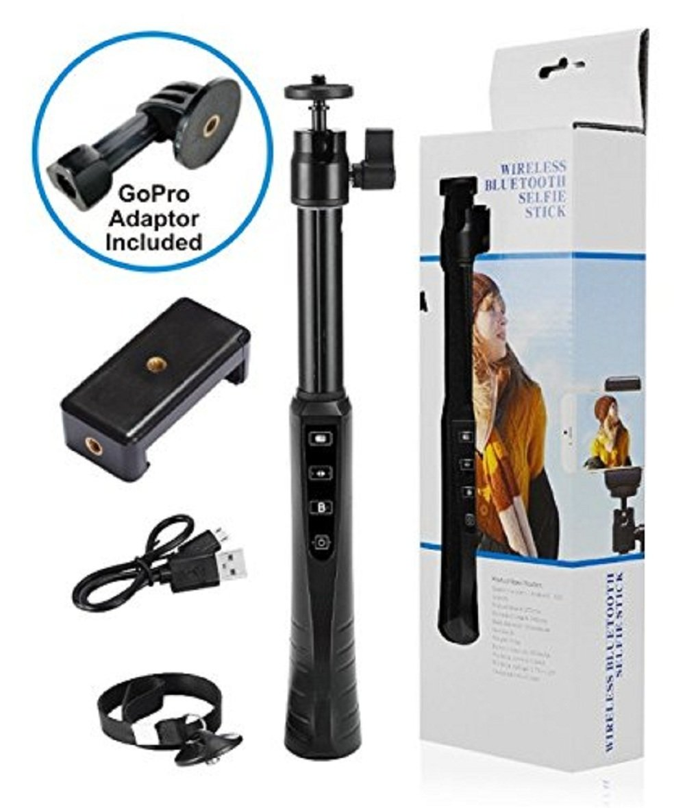 Integrity Merchandise Wireless Selfie Stick with Bluetooth V3.0 Technology, Black Colored Sleek Design with Rechargeable Battery; Go-Pro Adapter Included