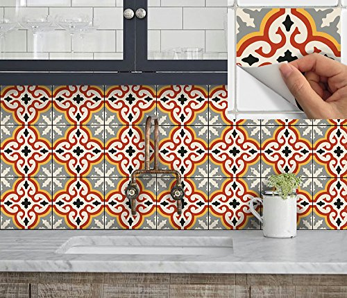 SnazzyDecal Tile Stickers Marrakesh 12pc 4x4in Peel and Stick for kitchen and bath M002-4 price tips cheap