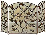 Benzara Leaves and Beads Design Metal Fire Screen, Bronze For Sale