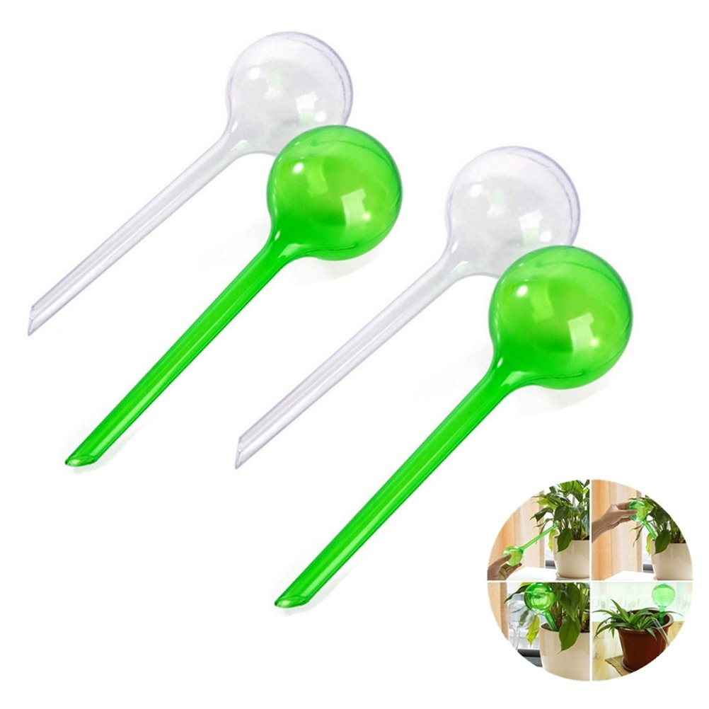 Eshylala 4 Pcs Automatic Watering Globe Watering Device Globes Garden Water Device Set Watering Bulbs Automatic Watering System Flower Plant Self Plant Waterer, 26.5x8cm/10.43x3.15inch(White&Green) by Eshylala