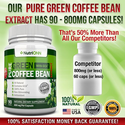 GREEN COFFEE BEAN EXTRACT with GCA, 800mg - 90 Vegetarian Capsules - Best Value For Price! - Highest Quality Pure Natural Coffee Extract for Weight Loss by NutriONN (Image #4)