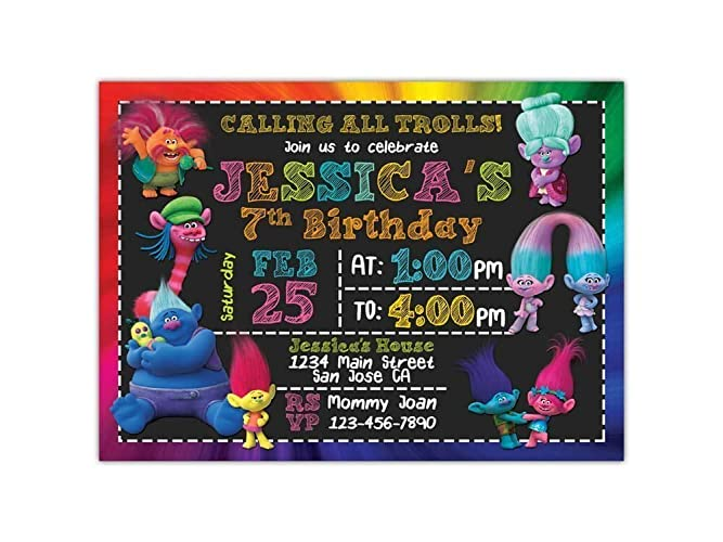 Custom Trolls Birthday Party Invitations For Kids 10pc 60pc 4x6 Or 5x7 Cards With White Envelopes Printed On Premium 265gsm Card Stock In