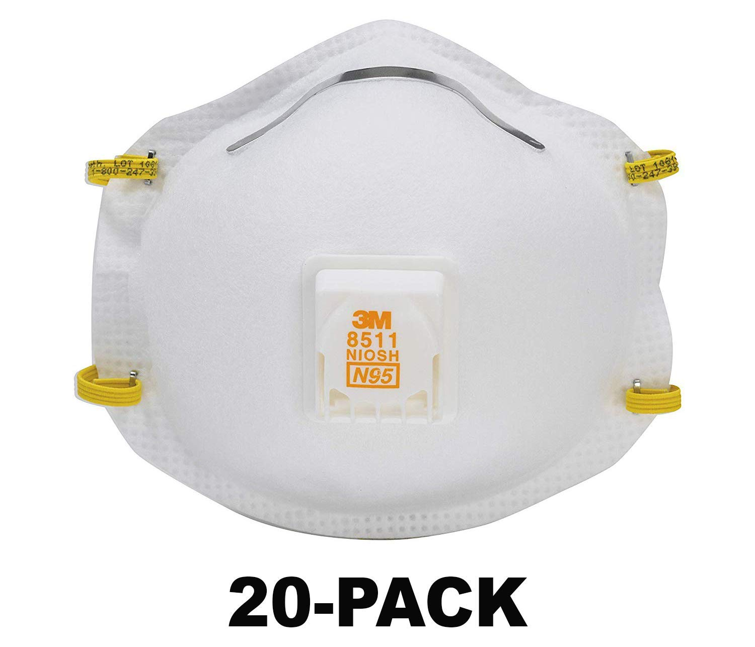3M 8511 Respirator, N95, Cool Flow Valve (20-PACK) by 3M SAFETY