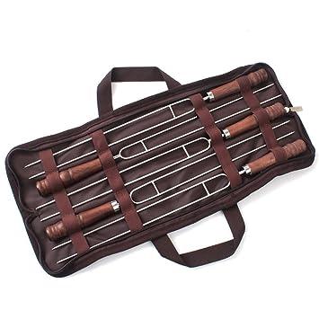 JasCherry Pinchos del BBQ del acero inoxidable 5 piezas - Parrilla de brocheta de barbacoa profesional herramienta - 42CM de Largo: Amazon.es: Jardín