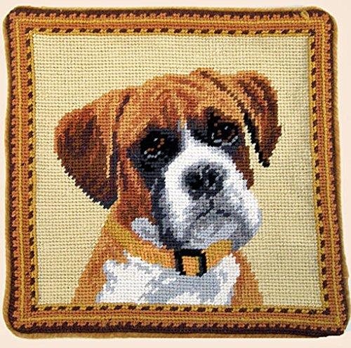 Flop Ear Boxer Dog Portrait Needlepoint Throw Pillow 10