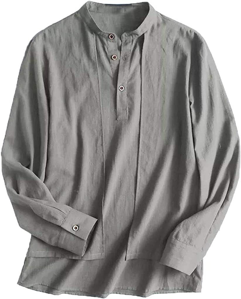 Mens Linen and Cotton Shirts,Males Long Sleeve Button Casual Solid Irregular Turndown Collar Top Blouse