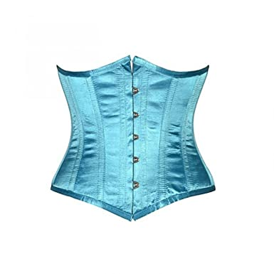 465f3546a3 Baby Blue Satin Fairytale Fantasy Costume Waist Cincher Basque Underbust  Corset  Amazon.co.uk  Clothing