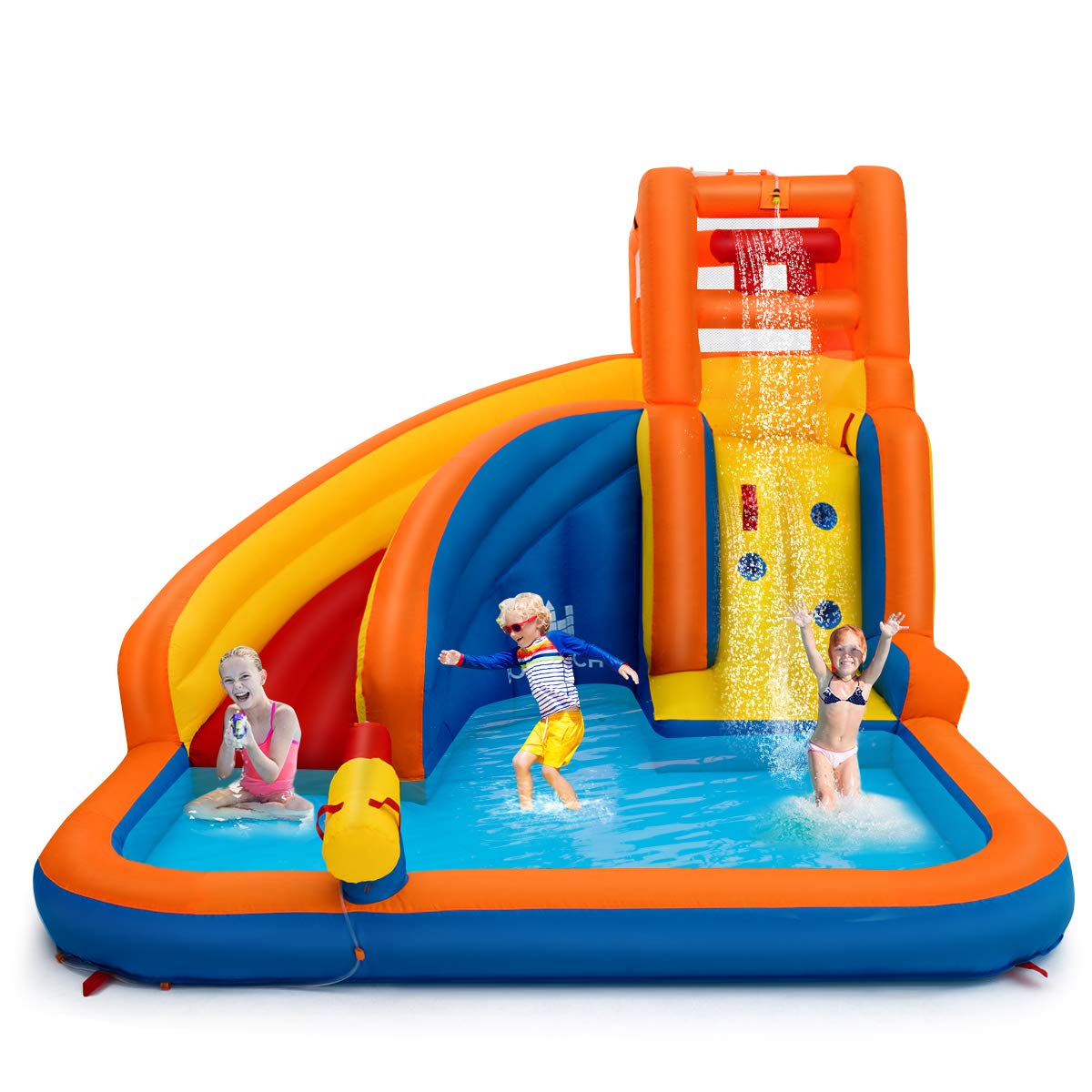 Costzon Inflatable Water Slide, 5-in-1 Kids Bouncer w/ Climbing Wall, Splash Pool, Water Cannon, Pouring Sink, Including Oxford Carry Bag, Repairing Kit, Stakes, Hose (Without Blower) by Costzon