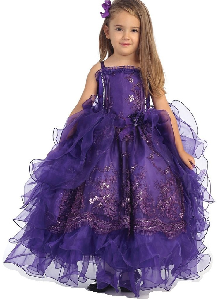Little Girls Gorgeous Embroidered Organza Flowers Girls Dresses Purple Size 4