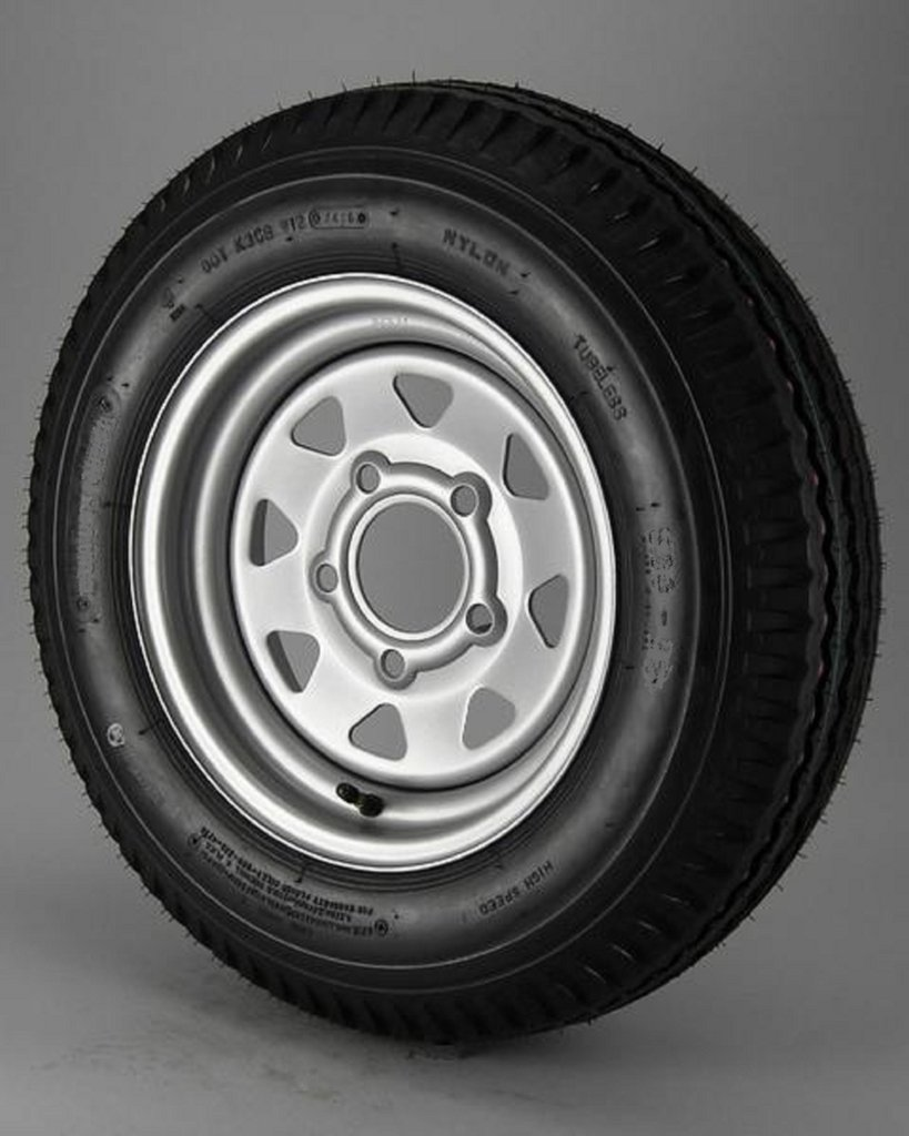 eCustomRim Mounted Radial Trailer Tire On Rim ST205/75R15 Load C 5 Lug Silver Spoke