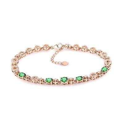 45ad4e9aa Amazon.com: Women's Solid 14K Rose Gold Natural Green Tsavorite ...
