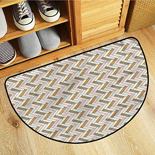 Beihai1Sun Half Round Rubber Doormat Wooden Rustic Oak Vintage Design Anti-Slip Doormat Footpad Machine Washable 31