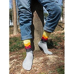 PUTON 6 Pair Men's Fun & Funky Colorful Cotton Dress Socks (Assorted 1)