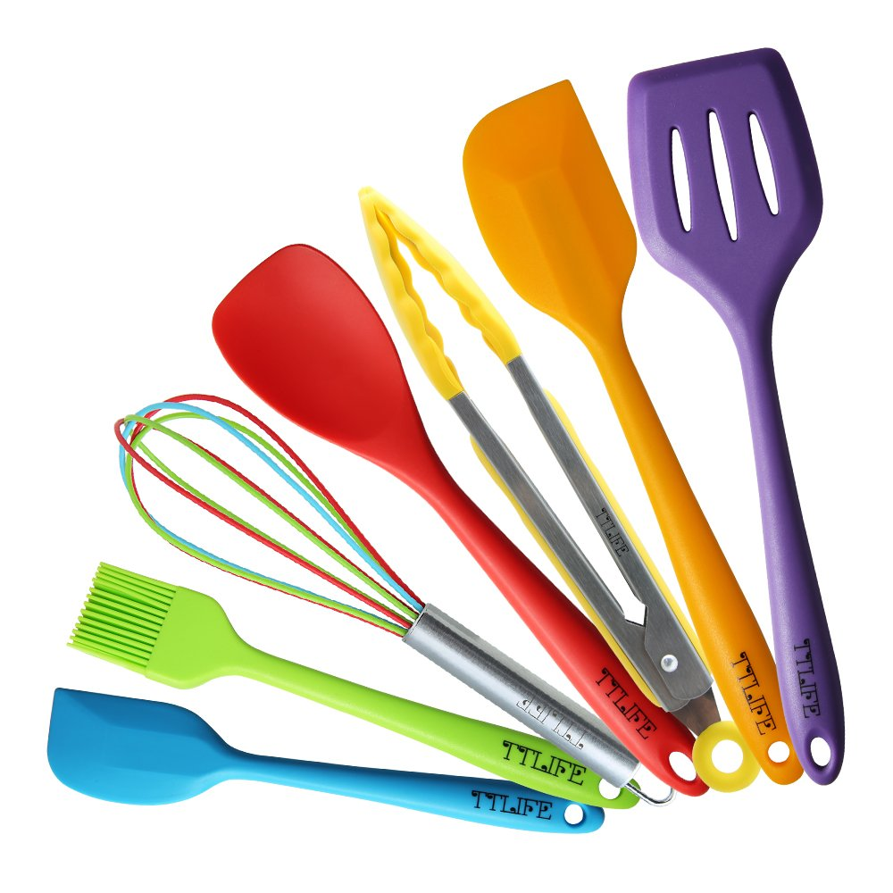 TTLIFE Silicone Spatula Utensil Kitchen Colorful 7 Pieces With Turner, Slotted spoon, Ladle, Spoon, Spoon Spatula, Spooula, Spatula, Basting brush for Cooking/Baking/BBQ