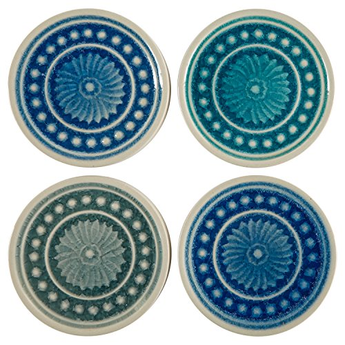Agate Medallion - Stone & Beam Medallion Round Stoneware Tile Coaster Set - Set of 4, 4.25 Inch, Teal and Blue
