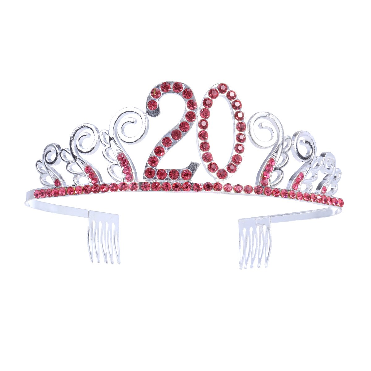 21th Birthday Crystal Tiara Queen Princess Crowns Dance Party Headband Red Rhinestone Hair Combs Clip for Girl's 21st Birthday Party Frcolor