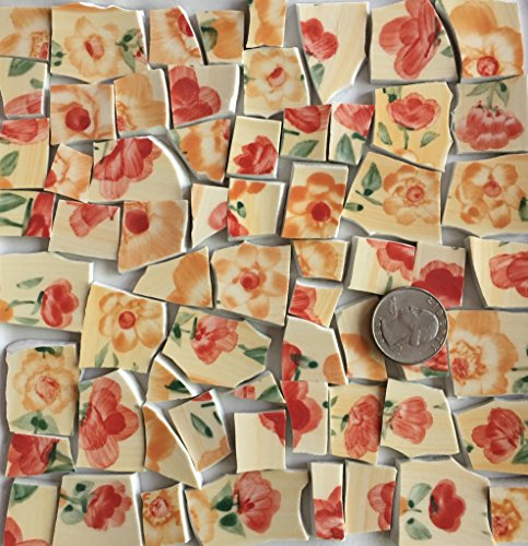 Mosaic Tile Art Supply for Mosaics & Crafts ~ Yellow Orange Flower and Green Leaf Tiles (T#689) by J Pepper's Art By Hand