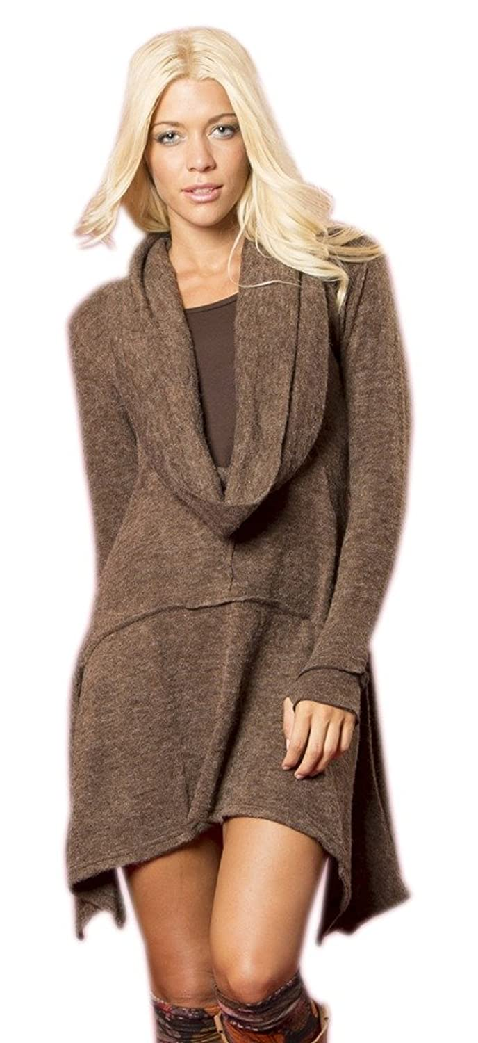 Little Kathmandu Women's Cowl Neck Long Sleeve Asymmetrical Winter Casual Dress