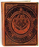 Celtic Spiral Pentagram Leather Blank Book Honey Mead Brown