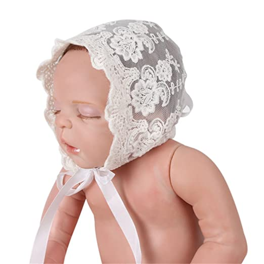 Amazon.com  Moxeay Baby Girls Cotton Lace Baby Bonnet with Flower ... 0436ed8bc23