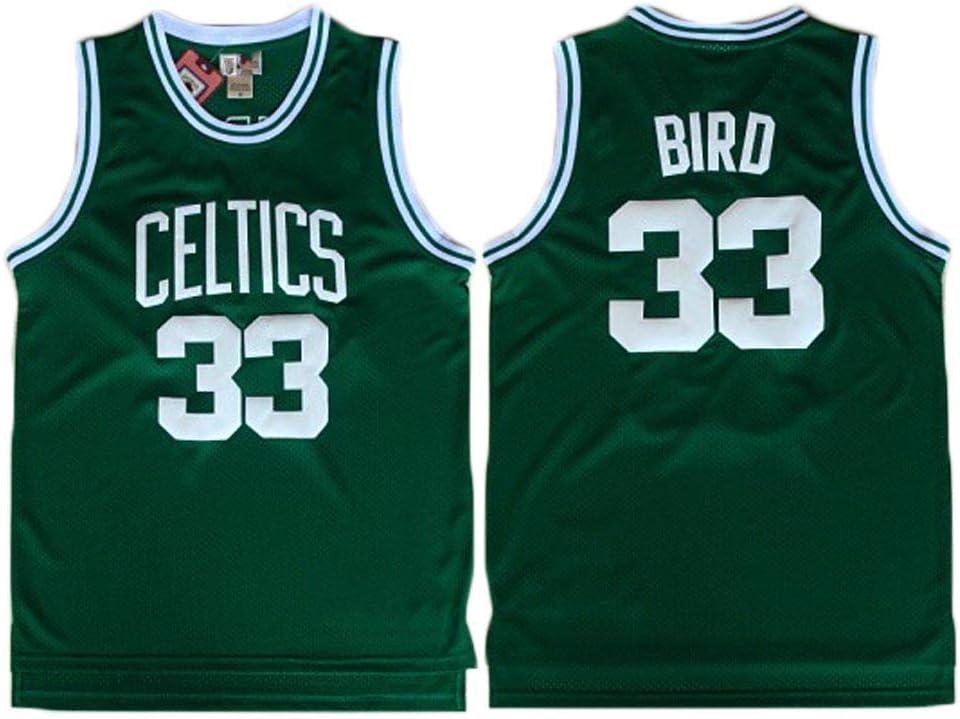 170cm//50~65kg LITBIT Herren-Basketball-Jersey Boston Celtics 33# Vogel atmungsaktiv schnell trocknend /Ärmel Sport-Weste-Spitze,Gr/ün,S