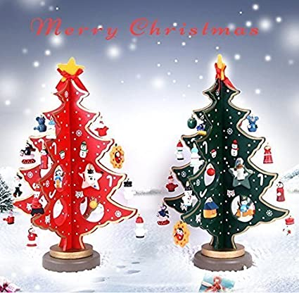 uchic 2pcslot home christmas ornament creative wooden small christmas tree handcraft gift tabletop christmas