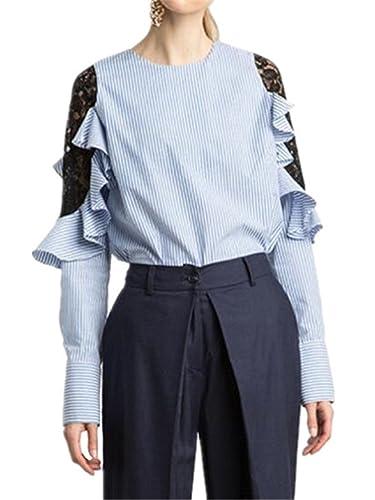 Aivosen Camisetas Mujeres Ligero Blusas De Encaje Flores Lace Crochet Cuello Redondo Camisas Manga L...