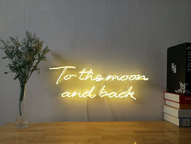 Amazon.com: To The Moon And Back Real Glass Neon Sign For Bedroom ...