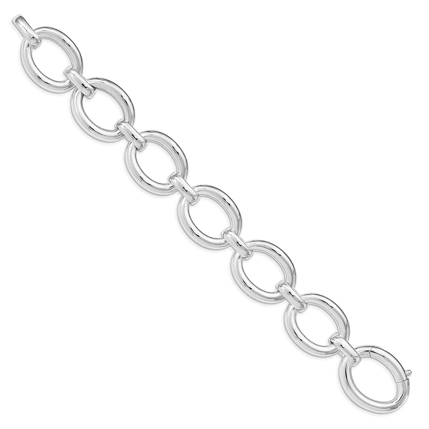 925 Sterling Silver Polished 21.8mm Hollow Fancy Link Bracelet 8.75