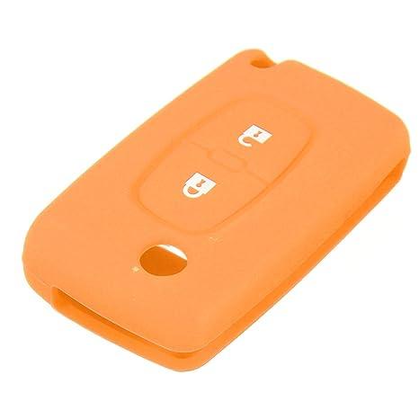 Audew 2 Botón carcasa mando Funda de silicona caso cubierta de llavero Para Peugeot 206 207 307 308-naranja