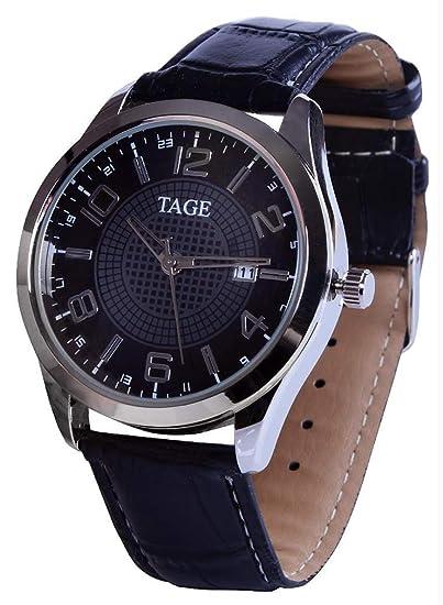 TAGE Elegance Edition - Reloj de Pulsera para Hombre, Correa de Piel marrón, Esfera