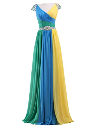 Amazon.com: Callmelady Multi-Colored Long Prom Dresses Chiffon Maxi Dress with Beaded Cap Sleeves: Clothing