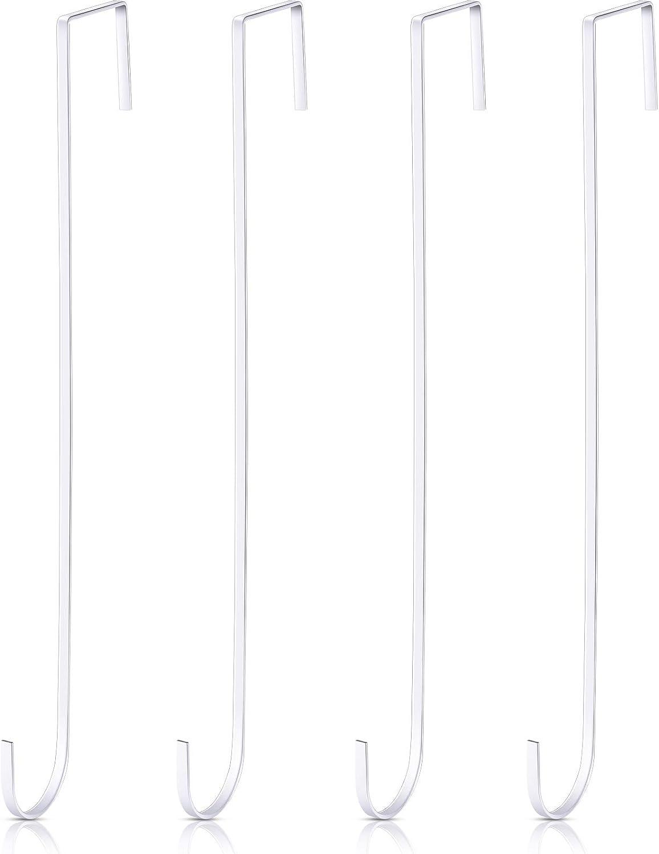 15 Pulgadas Ganchos Colgadores Corona Navideña Ganchos Negros Puerta Metal Perchas Prácticas Toallas Ropas para Decoración Puerta Entrada Navidad (Blanco, 4 Piezas)