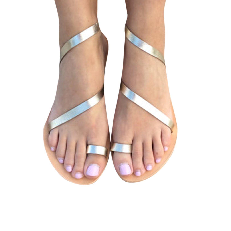 Lueyifs Damen Sandalen Flache Knouml;chel Schuhen Gladiator Flip Flop Thong Sommerschuhe  35 EU|Gold