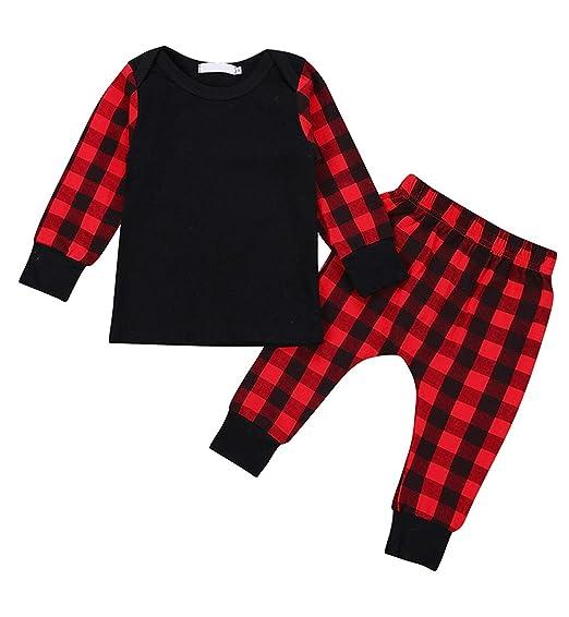 72648c44d Newborn Baby Boys Girls Halloween Outfit Red Plaid Pants Set Long Sleeve  Pullover Sweatshirt + Pants