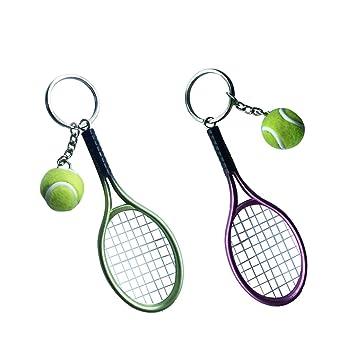 Sharplace Llavero Pelota de Tenis con Raqueta Color Verde ...