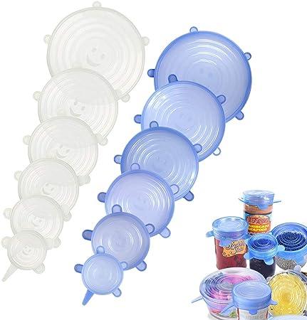 Blanco+Azul Tarros,Boles Platos Tapas de Silicona Reutilizable,Tapas de Silicona Ecol/ógicas sin bpa para Conservaci/ón de Alimentos,Tazas KATELUO 12 pcs Tapas de Silicona El/ásticas