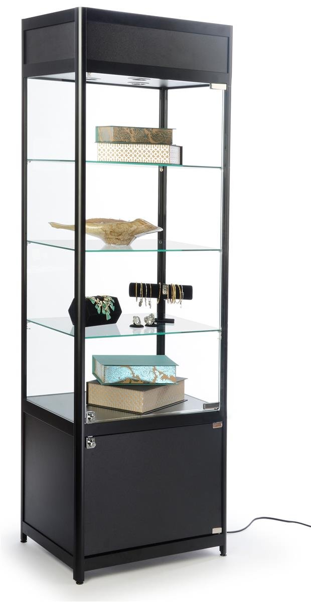 Displays2go Glass Display Case, Adjustable Shelves, Locking Door, Cabinet Base, Black (SCTWR2418BK)