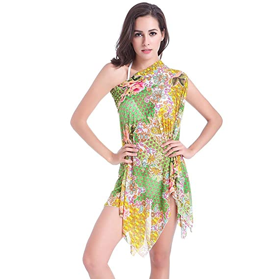 490aa62e8a434d HITSAN INCORPORATION Beach Dress Women Print Swimsuit Pareo Cover Up  Bandeau Cover-Ups Backless Beach Wear Tunic Strand Jurkjes Color Yellow  Size M  ...