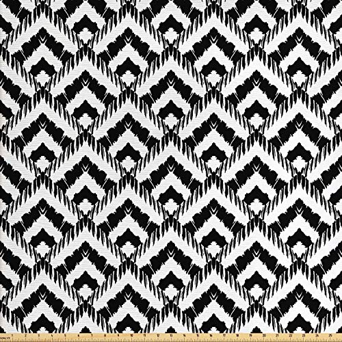- Ambesonne Black and White Fabric by The Yard, Hand Drawn Herringbone Lines Pattern Monochrome Geometric Arrangement, Decorative Fabric for Upholstery and Home Accents, 1 Yard, Black White