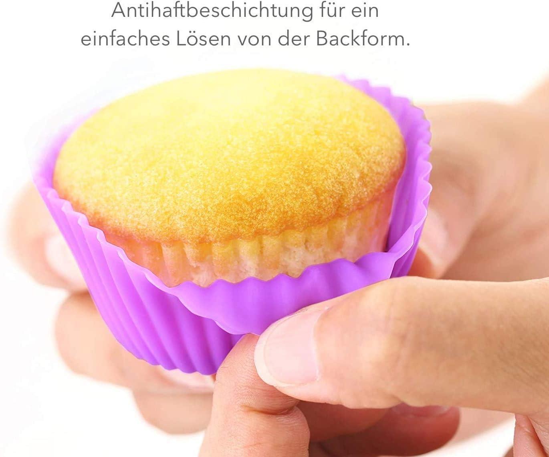 Moule De Cuisson En Silicone De Haute Qualit/é,Moule /à Muffins R/éutilisable,Moule /à Cupcake /Écologique,Mat/ériau R/ésistant Aux Hautes Temp/ératures-4 Couleurs,24 Moules /à G/âteaux