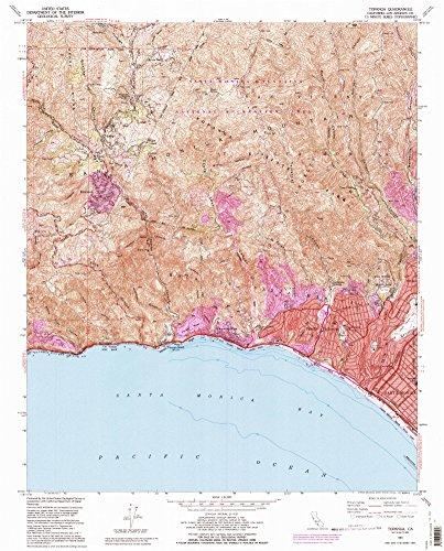 Topanga CA topo map, 1:24000 scale, 7.5 X 7.5 Minute, Historical, 1991, updated 1995, 26.7 x 21.5 IN - - Topanga Map Of Canyon