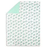 Mint Green Cactus Print Baby Blanket by The Peanut Shell